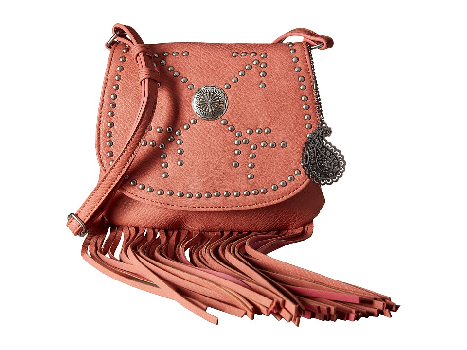 American West - Austin Fringe Flap Bag w/ Wallet (Flamingo) Wallet Handbags