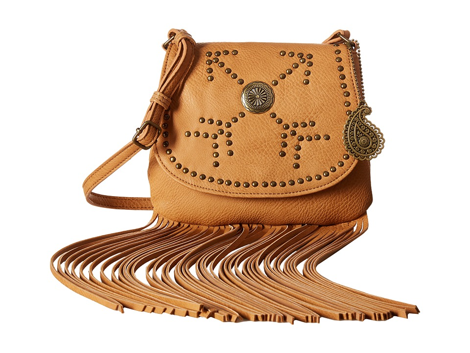 American West - Austin Fringe Flap Bag w/ Wallet (Tan) Wallet Handbags
