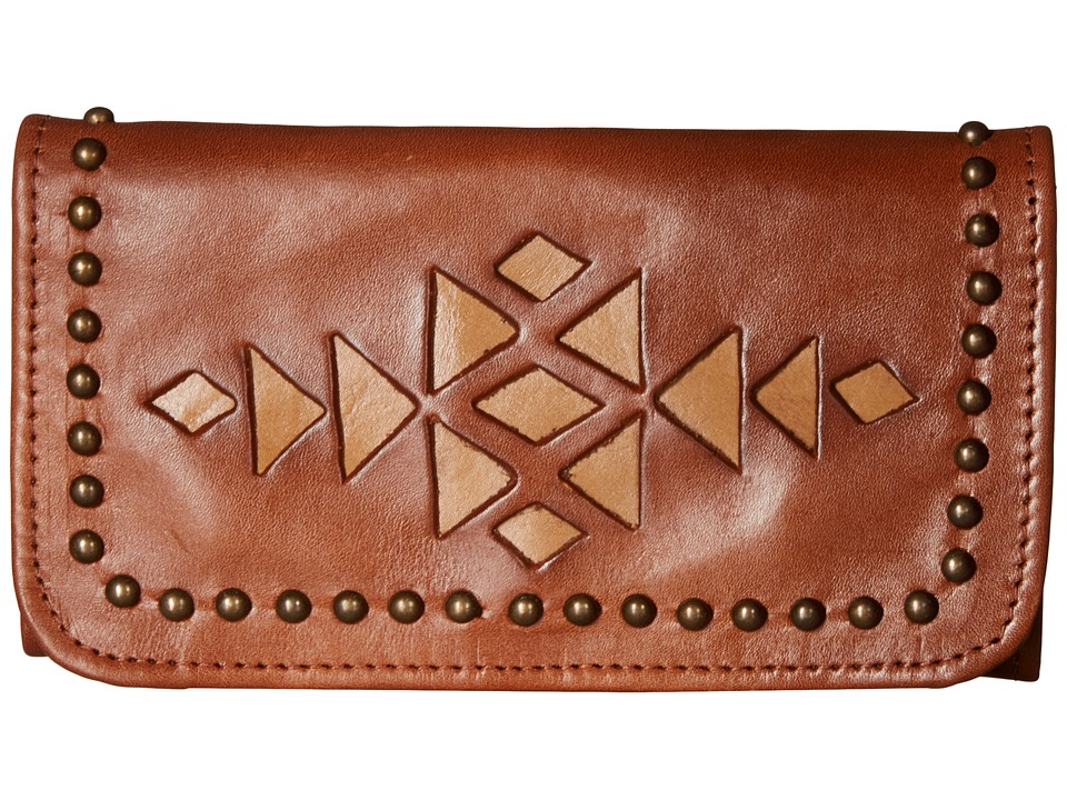 American West - Azteca Trifold Wallet (Antique Brown/Tan) Wallet Handbags