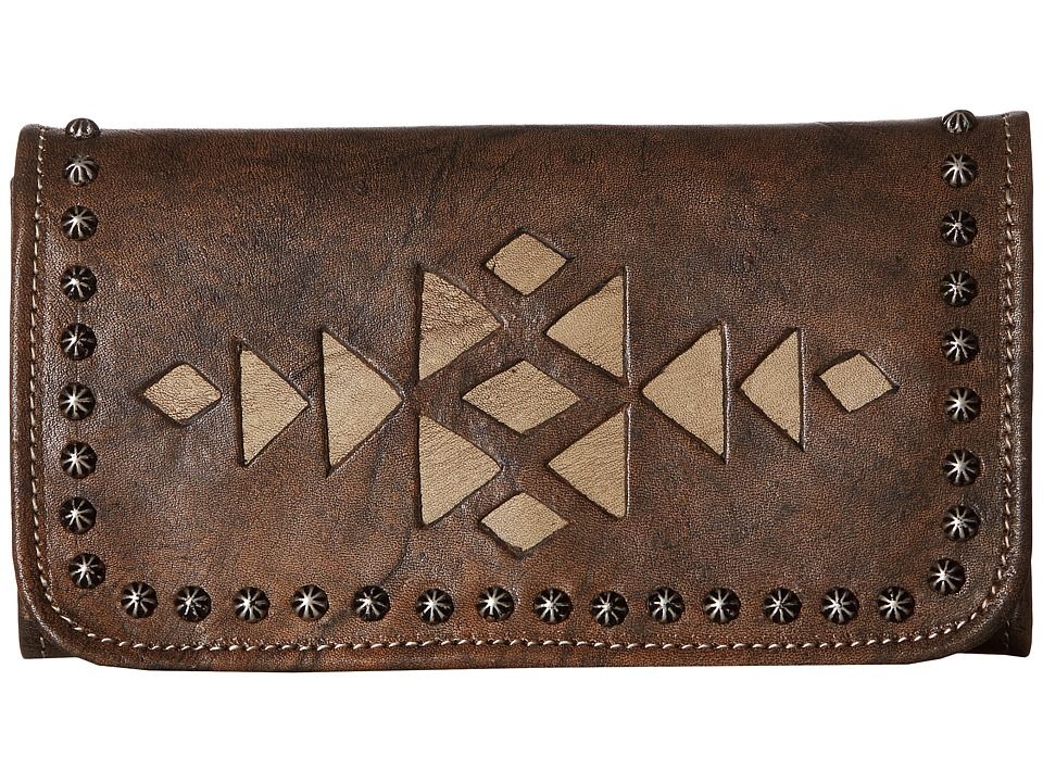 American West - Azteca Trifold Wallet (Distressed Charcoal Brown/Sand) Wallet Handbags