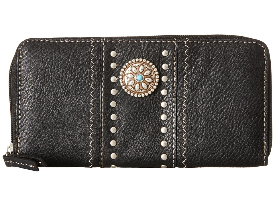 American West - Rio Rancho Zip-Around Wallet (Black) Wallet Handbags