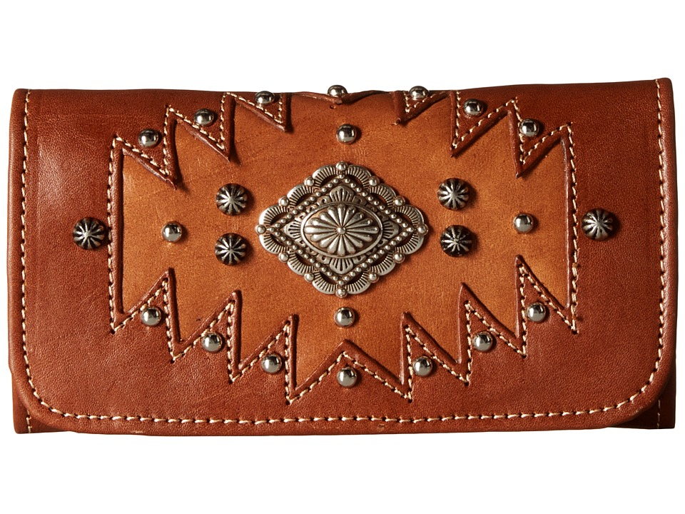 American West - Annie's Secret Collection Tri-Fold Wallet (Antique Tan/Golden Tan) Wallet Handbags