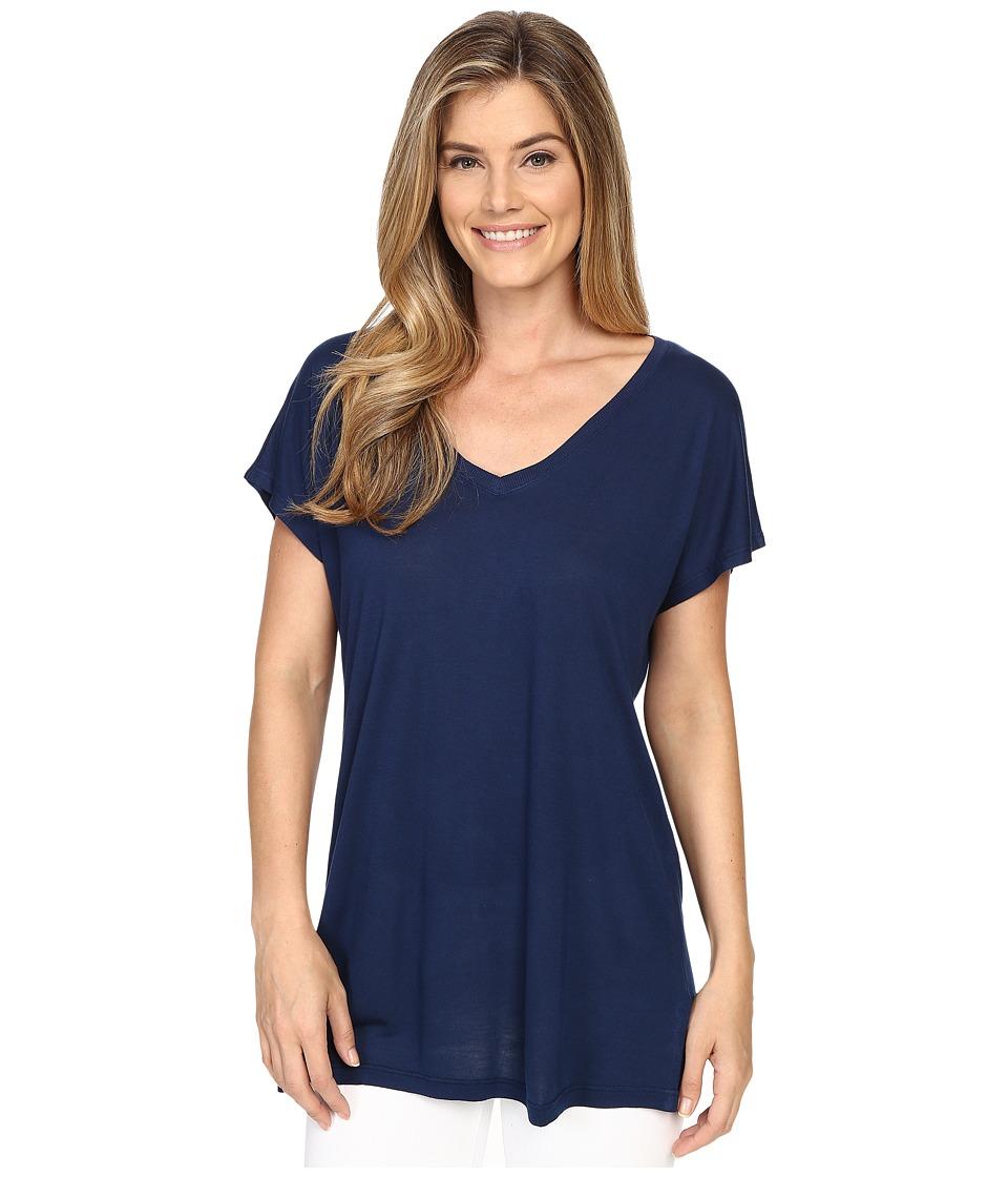 Allen Allen - S/S V-Neck Tee (Lapis) Women's Short Sleeve Pullover