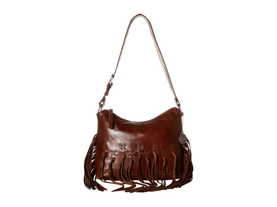 American West - River Ranch Slouch Zip Top Shoulder Bag (Tobacco/Distressed Charcoal Brown) Shoulder Handbags