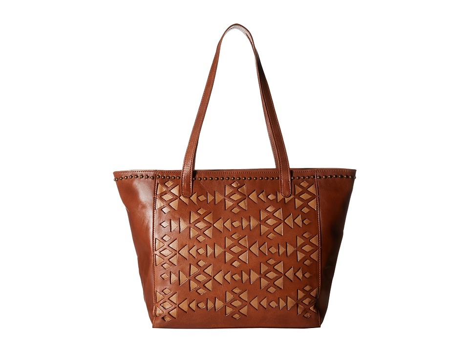 American West - Azteca Zip Top Bucket Tote (Antique Brown/Tan) Tote Handbags