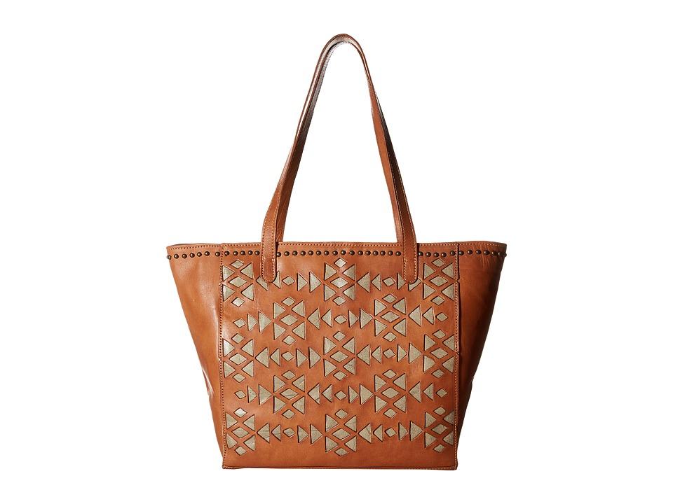 American West - Azteca Zip Top Bucket Tote (Golden Tan/Sand) Tote Handbags