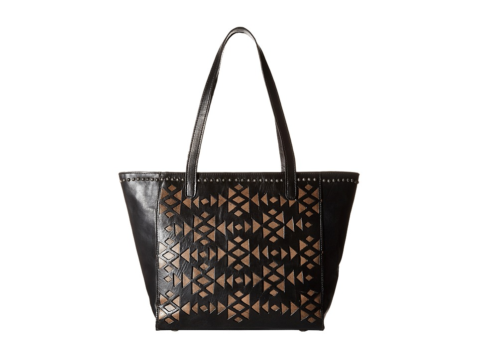 American West - Azteca Zip Top Bucket Tote (Black/Distressed Charcoal Brown) Tote Handbags