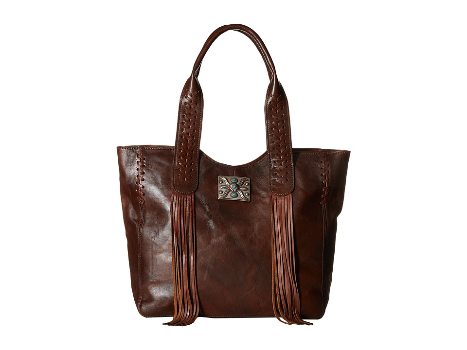 American West - Mohave Canyon Large Zip Top Tote (Chestnut Brown) Tote Handbags