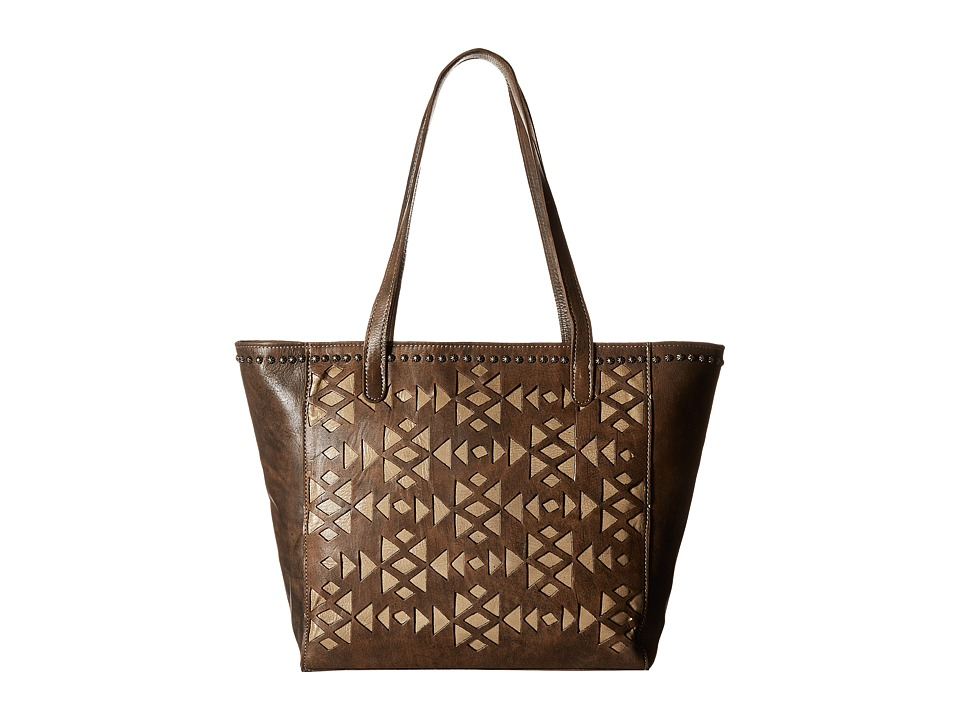 American West - Azteca Zip Top Bucket Tote (Distressed Charcoal Brown/Sand) Tote Handbags