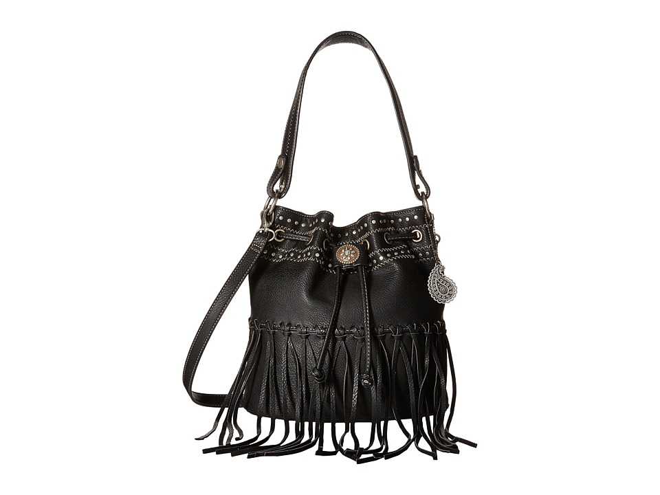American West - Rio Rancho Drawstring Crossbody (Black) Cross Body Handbags