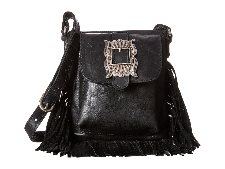 American West - Eagle Feather Soft Crossbody Fringe Bag (Charcoal) Cross Body Handbags
