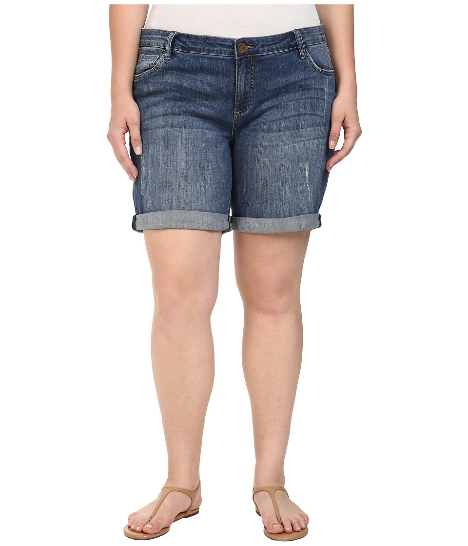 KUT from the Kloth - Plus Size Catherine Boyfriend Roll Up Shorts in Teamwork (Teamwork) Women's Shorts