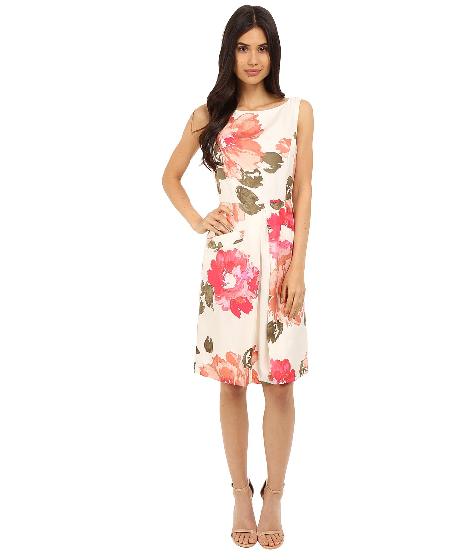 Donna Morgan - Printed Twill Sleeveless Pleat Front Fit and Flare Dress (Whitecap Multi) Women's Dress