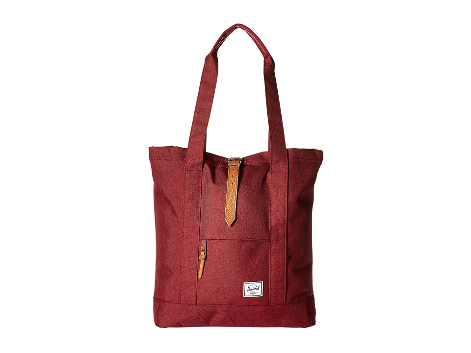 Herschel Supply Co. - Market (Winetasting Crosshatch/Tan Pebbled Leather) Tote Handbags