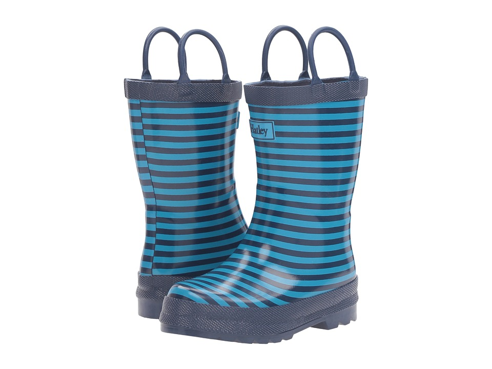 Hatley Kids Navy Striped Rain Boots (Toddler/Little Kid) (Blue) Boys Shoes