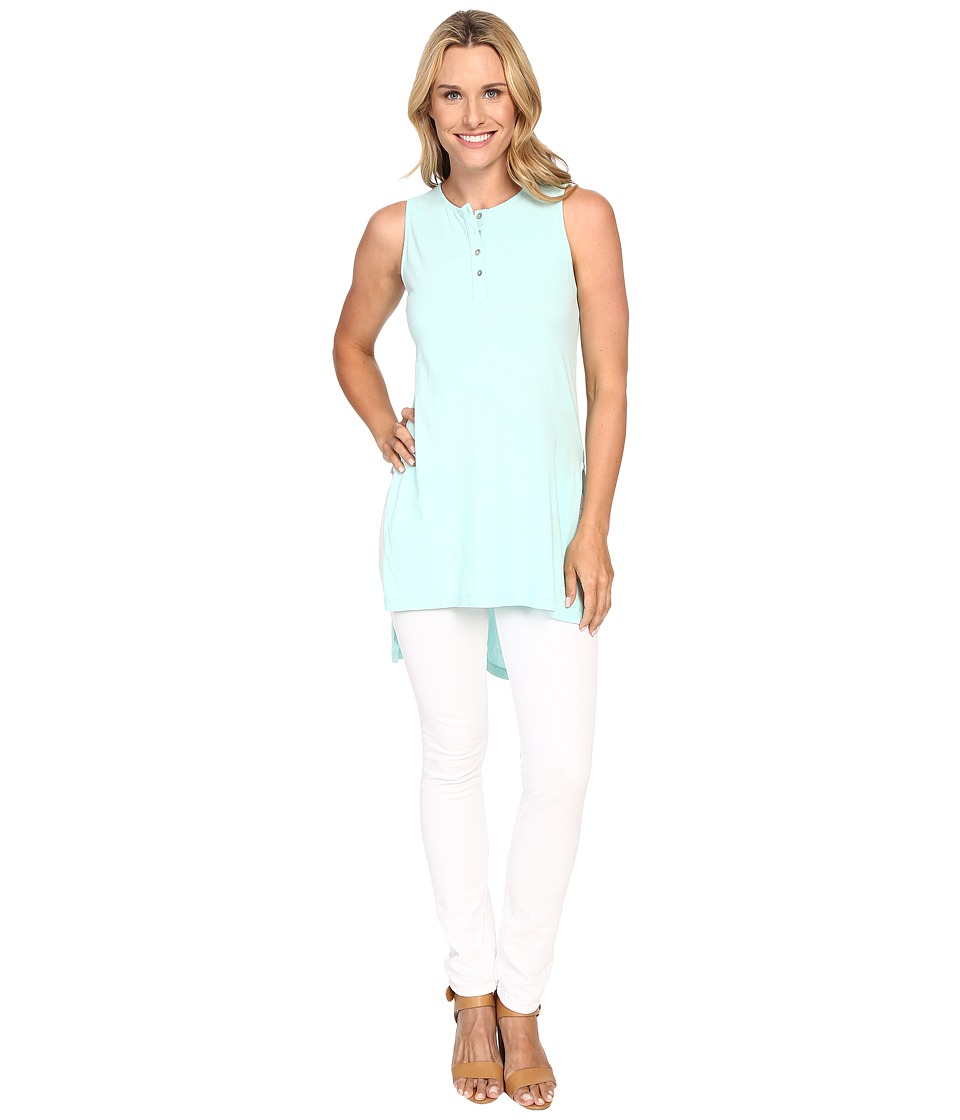 Mod-o-doc - Supreme Jersey Henley Tunic With Side Slits (Daquiri Ice) Women's Sleeveless