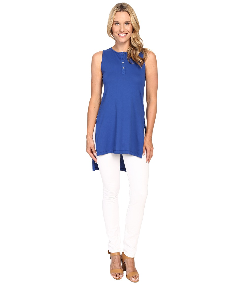 Mod-o-doc - Supreme Jersey Henley Tunic With Side Slits (Sailor) Women's Sleeveless