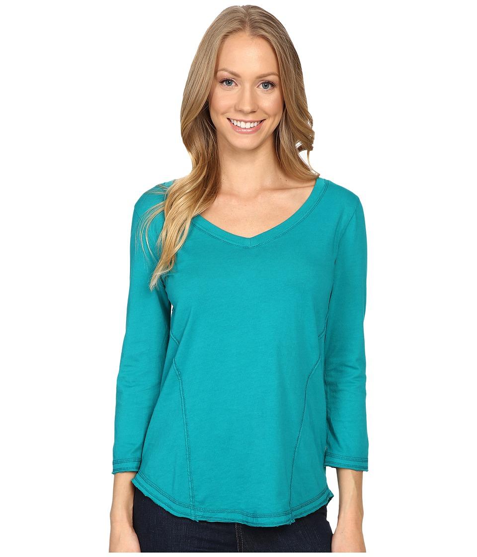 Mod-o-doc - Supreme Jersey Seamed V-Neck Long Sleeve Tee (Dark Jade) Women's T Shirt