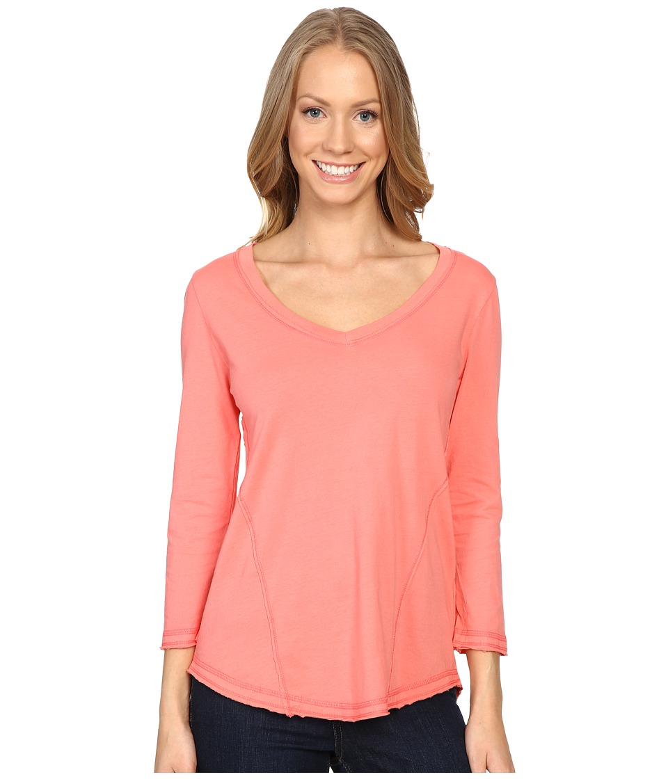 Mod-o-doc - Supreme Jersey Seamed V-Neck Long Sleeve Tee (Cali Coral) Women's T Shirt