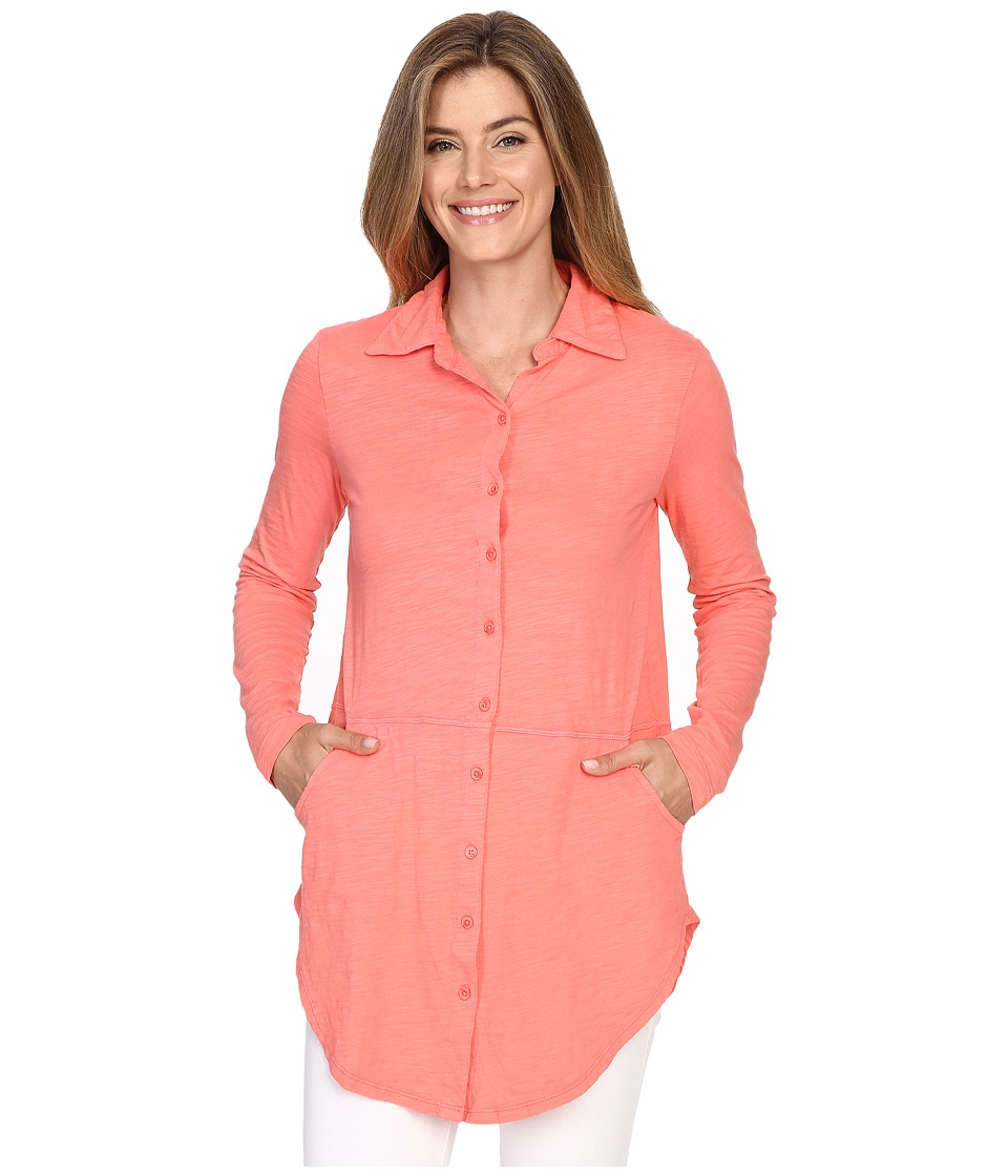 Mod-o-doc - Slub Jersey Button Front Shirt (Cali Coral) Women's Long Sleeve Button Up