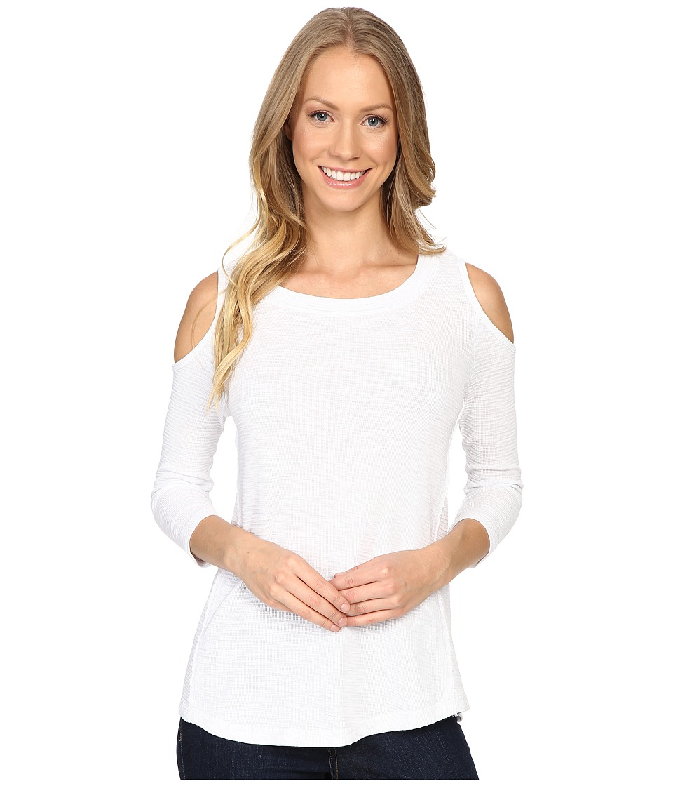 Mod-o-doc - Textured Slub Stripe Cold Shoulder 3/4 Sleeve Top (White) Women's Long Sleeve Pullover