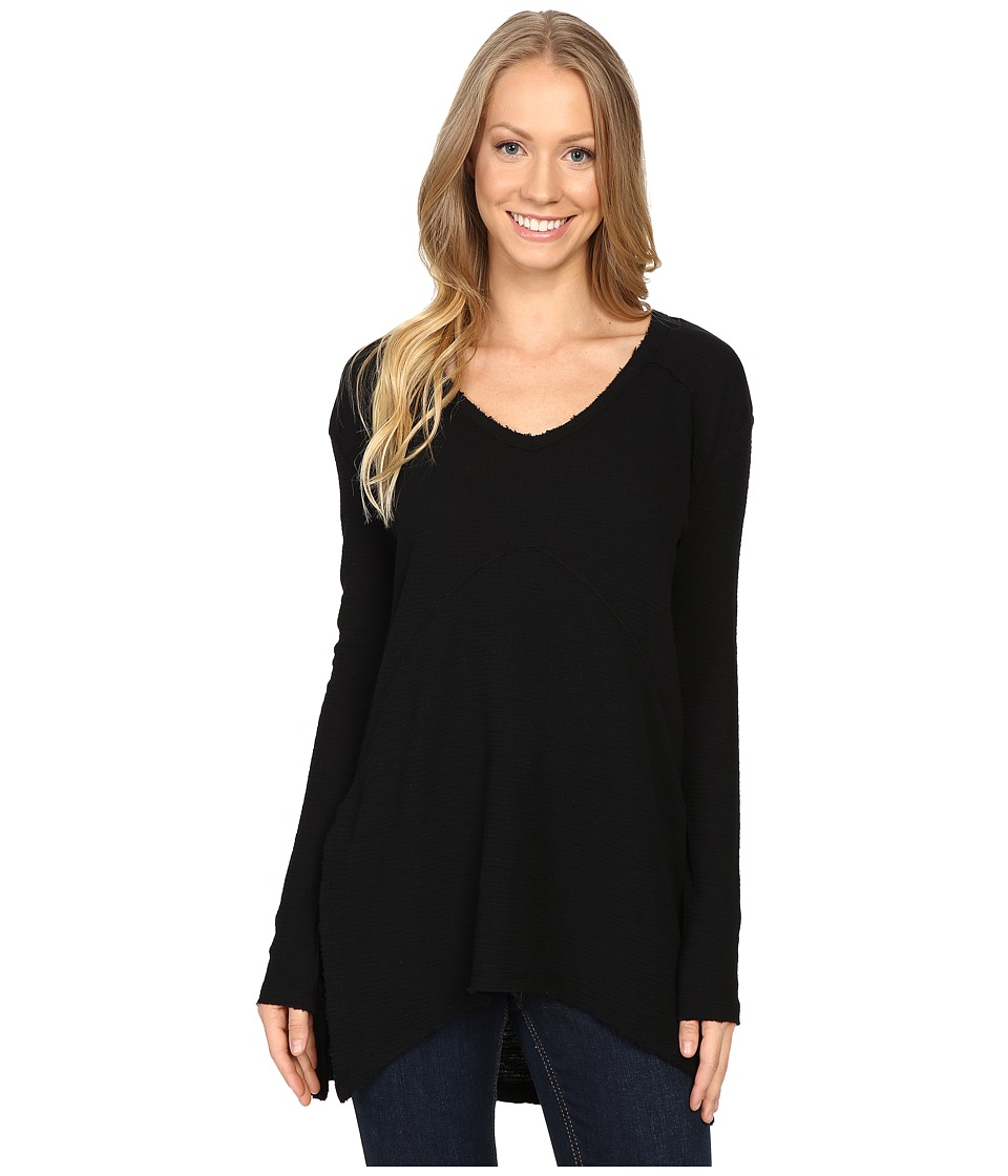 Mod-o-doc - Textured Slub Stripe Seamed V-Neck Long Sleeve Tee (Black) Women's T Shirt