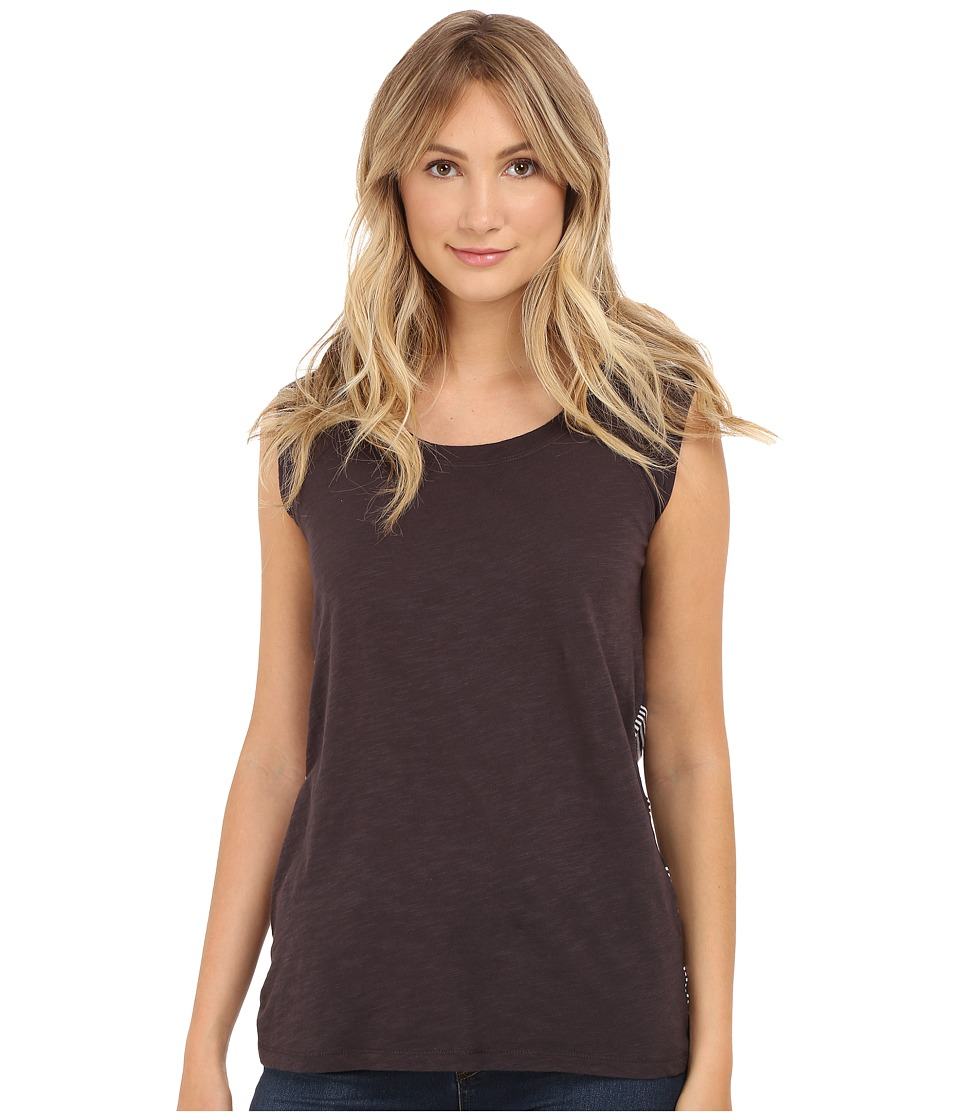 Allen Allen - Sleeveless Tee Stripe Back (Jet Grey) Women's Sleeveless