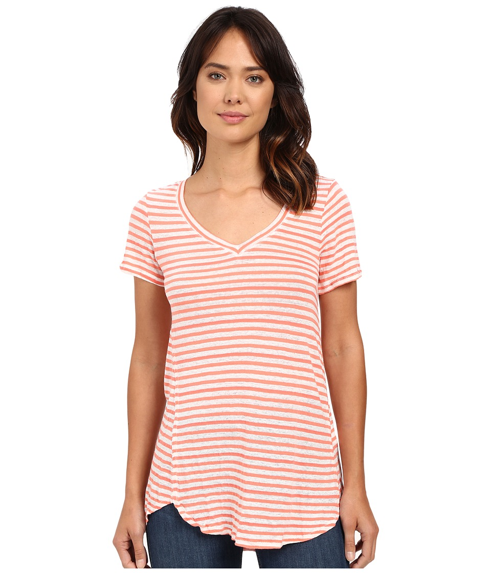 Mod-o-doc - Linen Knit Stripe Short Sleeve V-Neck Tee (Cali Coral) Women's T Shirt