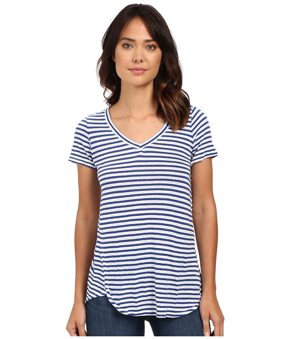 Mod-o-doc - Linen Knit Stripe Short Sleeve V-Neck Tee (Sailor) Women's T Shirt