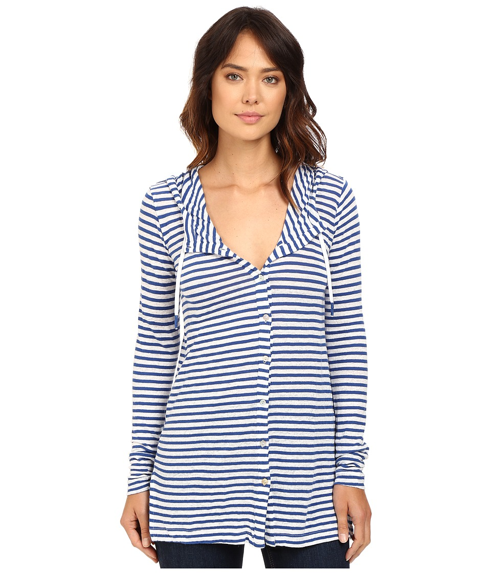 Mod-o-doc - Linen Knit Stripe Cover-Up Long Sleeve Hoodie (Sailor) Women's Sweatshirt