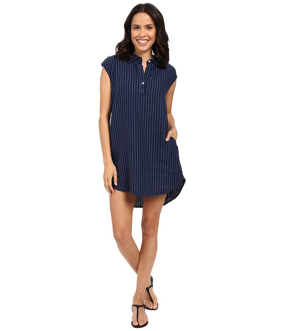 Allen Allen - Stripe Linen Dress (Lapis) Women's Dress