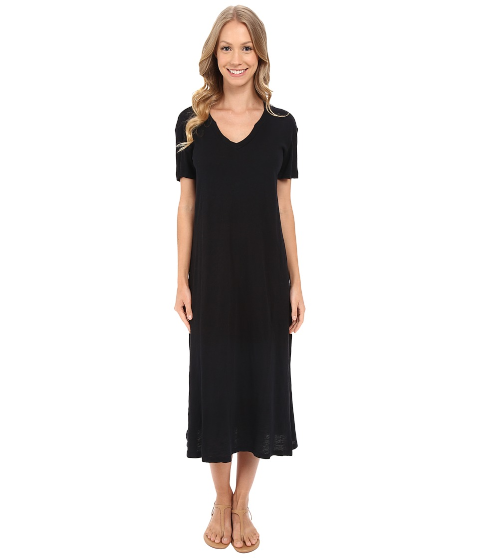 Allen Allen - Short Sleeve Vee Dress (Black) Women's Dress