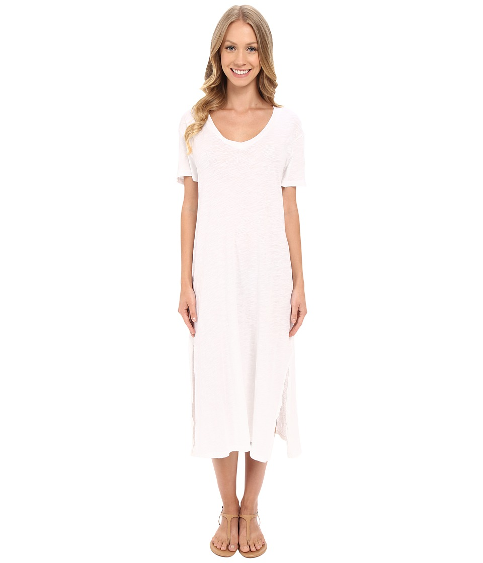 Allen Allen Short Sleeve Vee Dress (White) Women