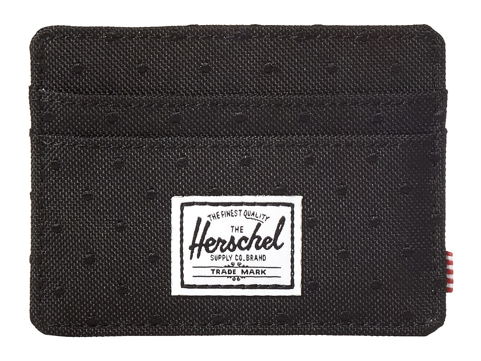 Herschel Supply Co. - Charlie (Black/Black Embroidery Polka Dot) Credit card Wallet