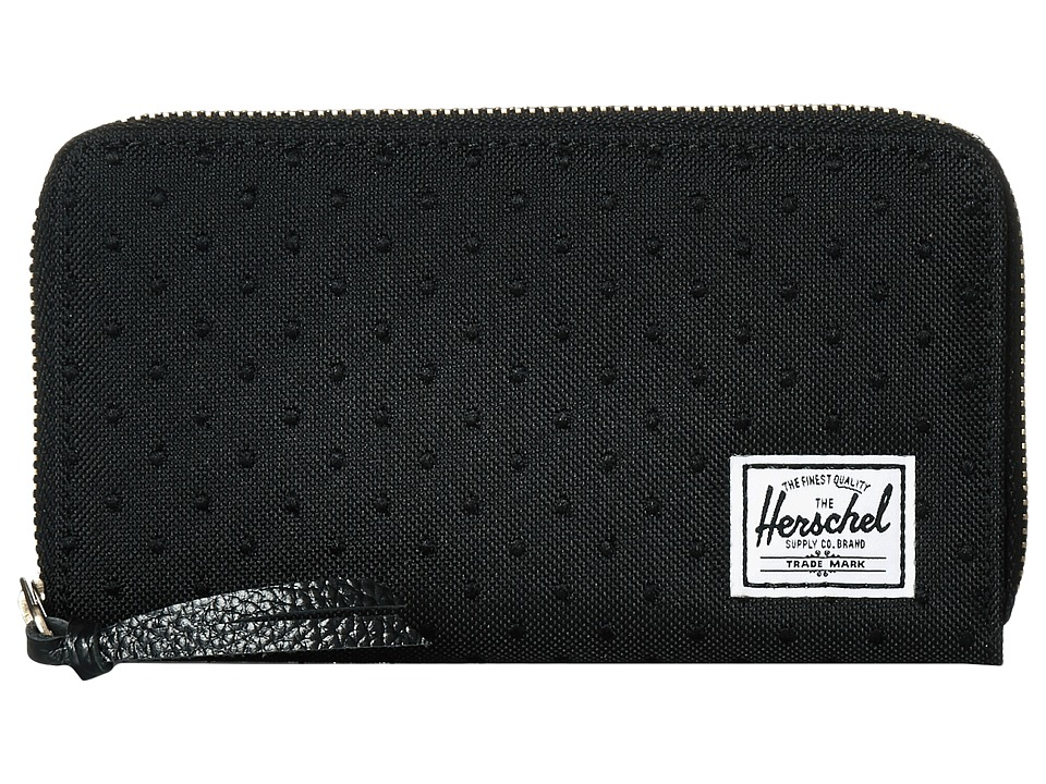 Herschel Supply Co. - Thomas with Zipper (Black/Black Embroidery Polka Dot) Wallet Handbags