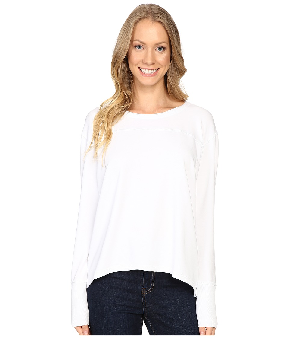 Mod-o-doc - Cotton Modal Spandex French Terry Crossover Back Long Sleeve Pullover (White) Women's Long Sleeve Pullover