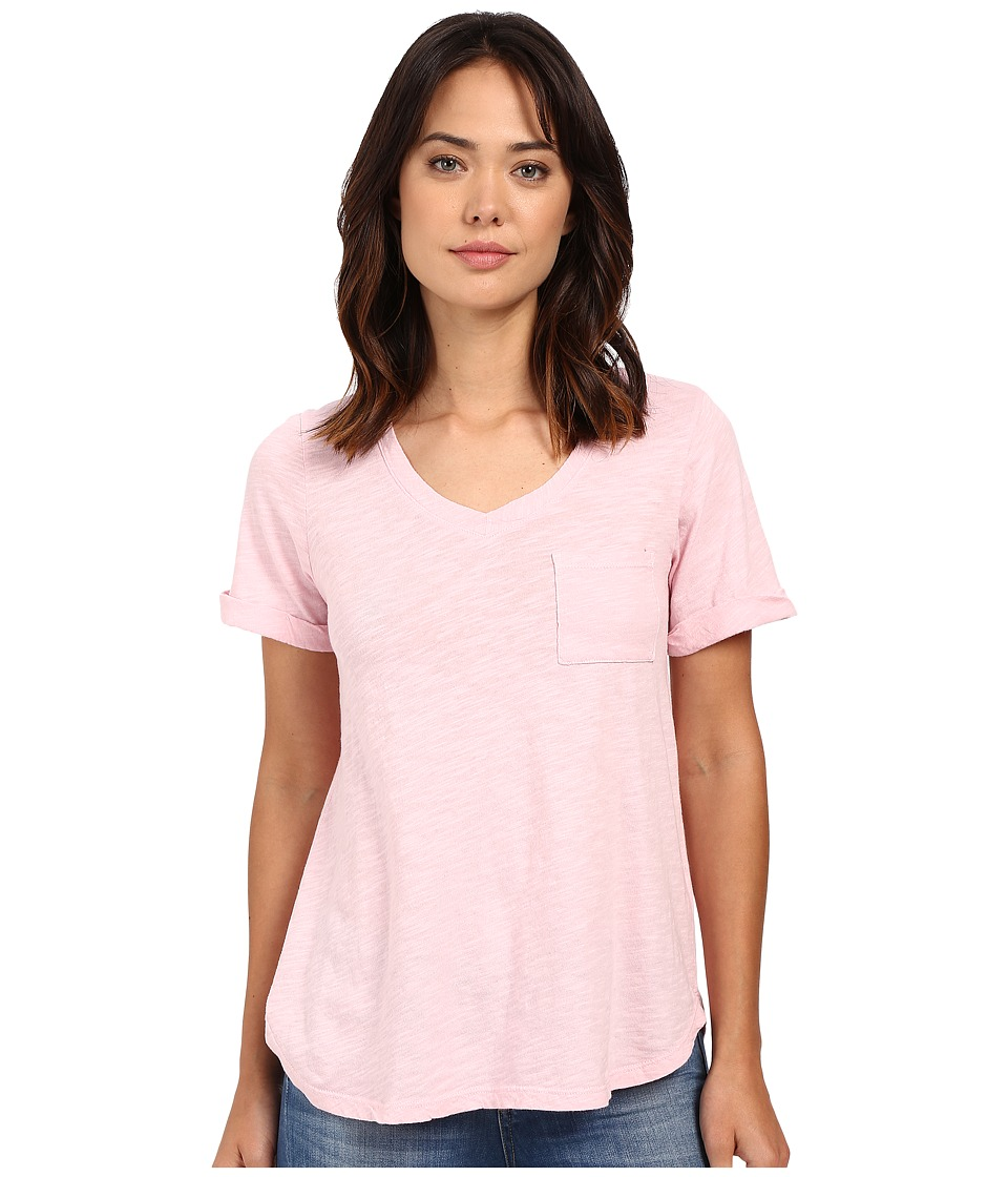 Allen Allen Short Sleeve Vee w/ Pocket (Pastel) Women's Short Sleeve Pullover