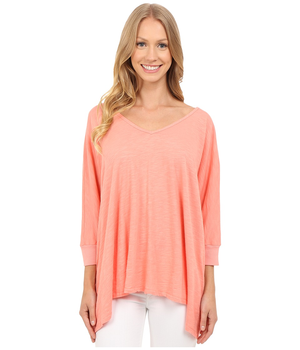 Allen Allen - Popover (Peach Amber) Women's Short Sleeve Button Up