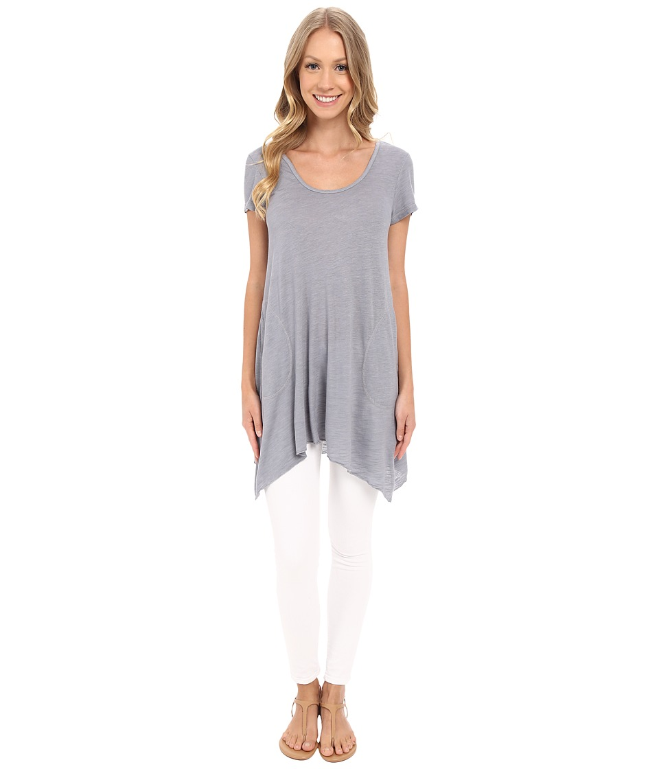 Allen Allen - S/S Slub Tunic (Pale Grey) Women's Blouse