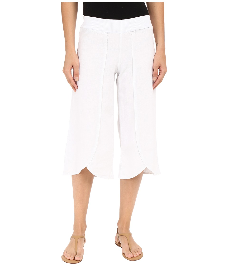 Mod-o-doc - Linen Rayon Crossover Culottes (White) Women's Casual Pants