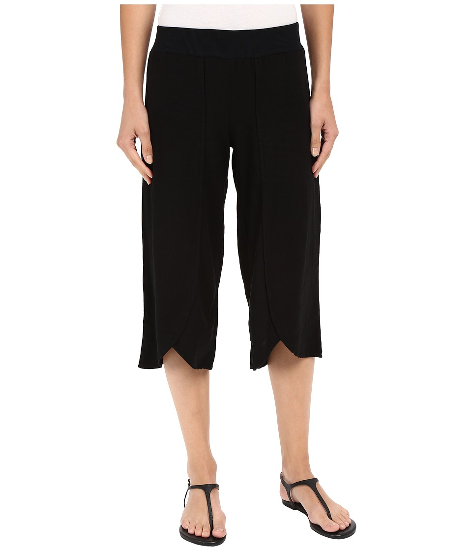 Mod-o-doc - Linen Rayon Crossover Culottes (Black) Women's Casual Pants