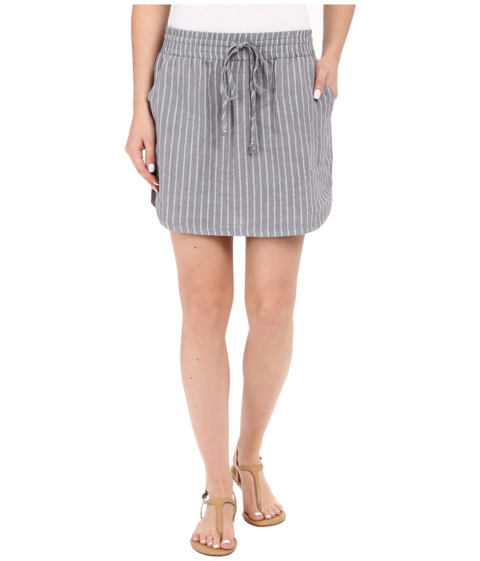 Allen Allen - Stripe Linen Skirt (Pale Grey) Women