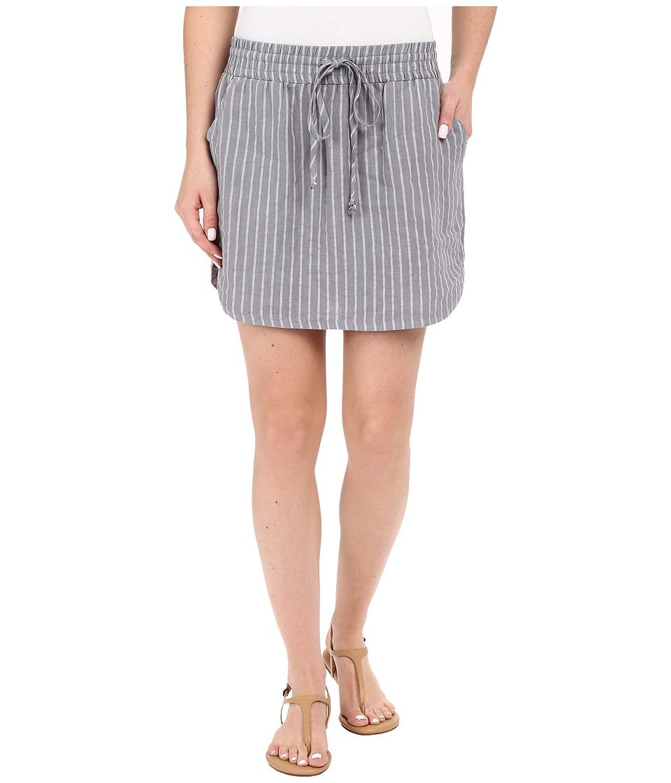 Allen Allen Stripe Linen Skirt (Pale Grey) Women