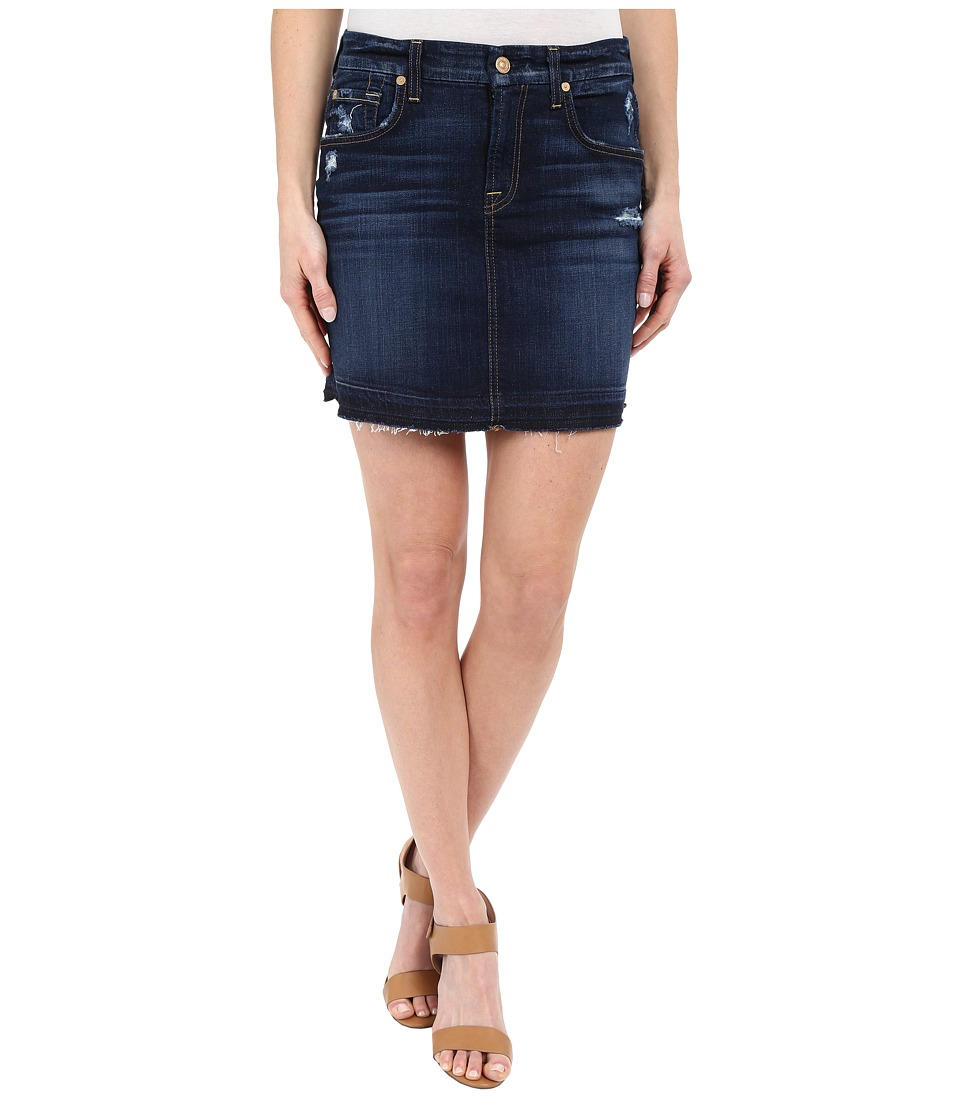 7 For All Mankind - Mini Pencil Skirt with Released Hem Distress in Mykonos Dark Indigo (Mykonos Dark Indigo) Women's Skirt