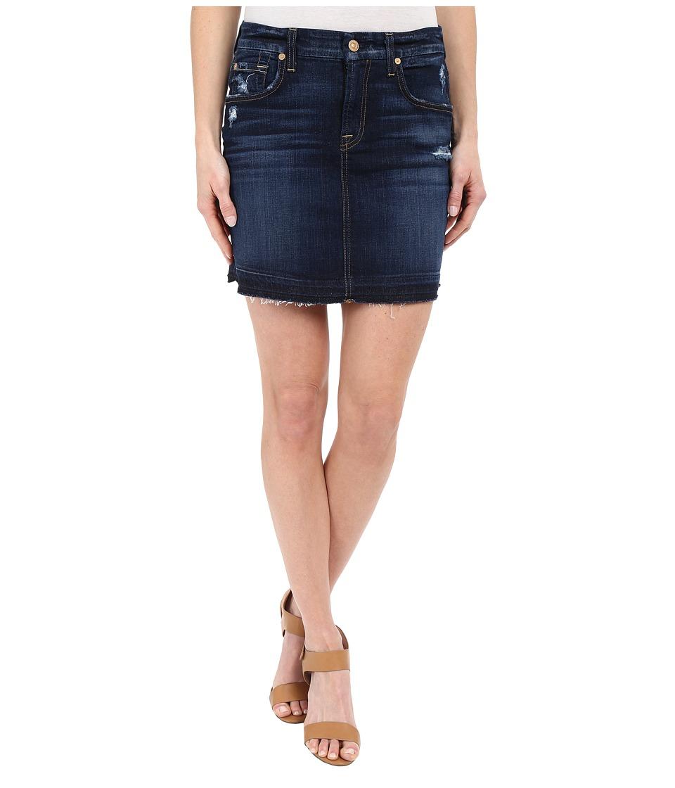7 For All Mankind - Mini Pencil Skirt with Released Hem Distress in Mykonos Dark Indigo (Mykonos Dark Indigo) Women's Skirt plus size,  plus size fashion plus size appare