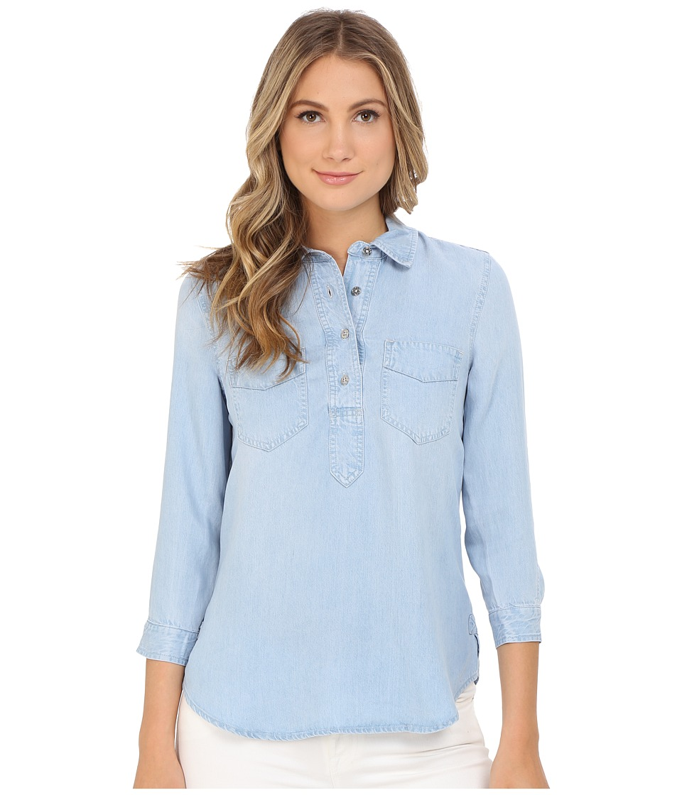 7 For All Mankind - Patched Denim Shirt in Athenia Light Blue (Athenia Light Blue) Women's Clothing