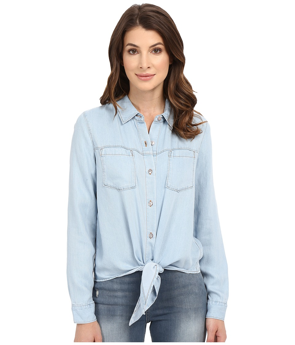7 For All Mankind - Tie Front Denim Shirt in Ibiza Clear Blue (Ibiza Clear Blue) Women's Clothing