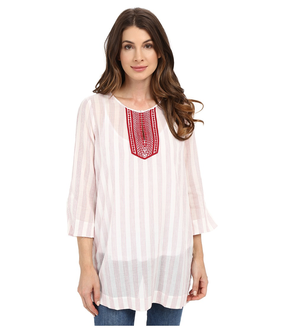 NYDJ - Cotton Embroidered Tunic (Cassis Red) Women's Blouse