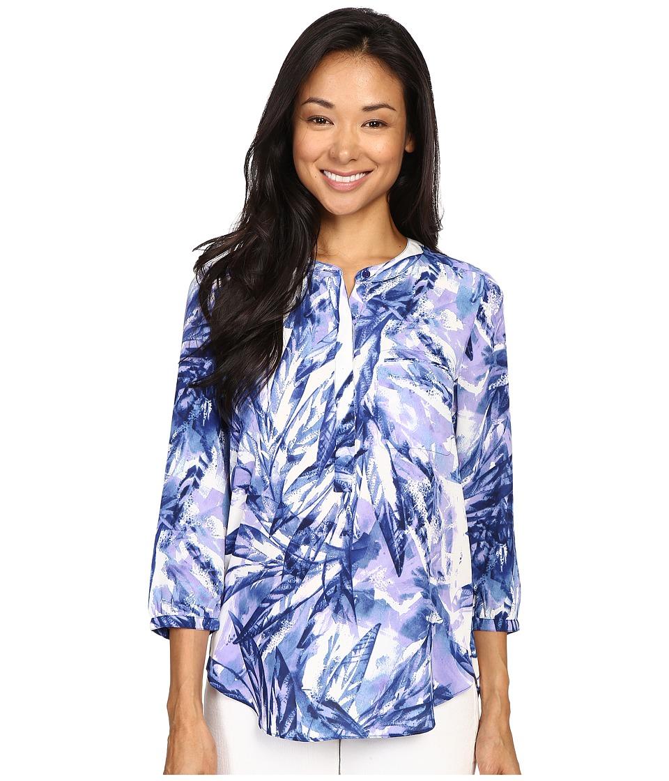 NYDJ - 3/4 Sleeve Pleat Back (Laurel Rain Forest Blue) Women's Blouse