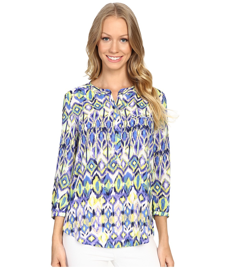 NYDJ - 3/4 Sleeve Pleat Back (Ivory Coast Ikat Blue) Women's Blouse